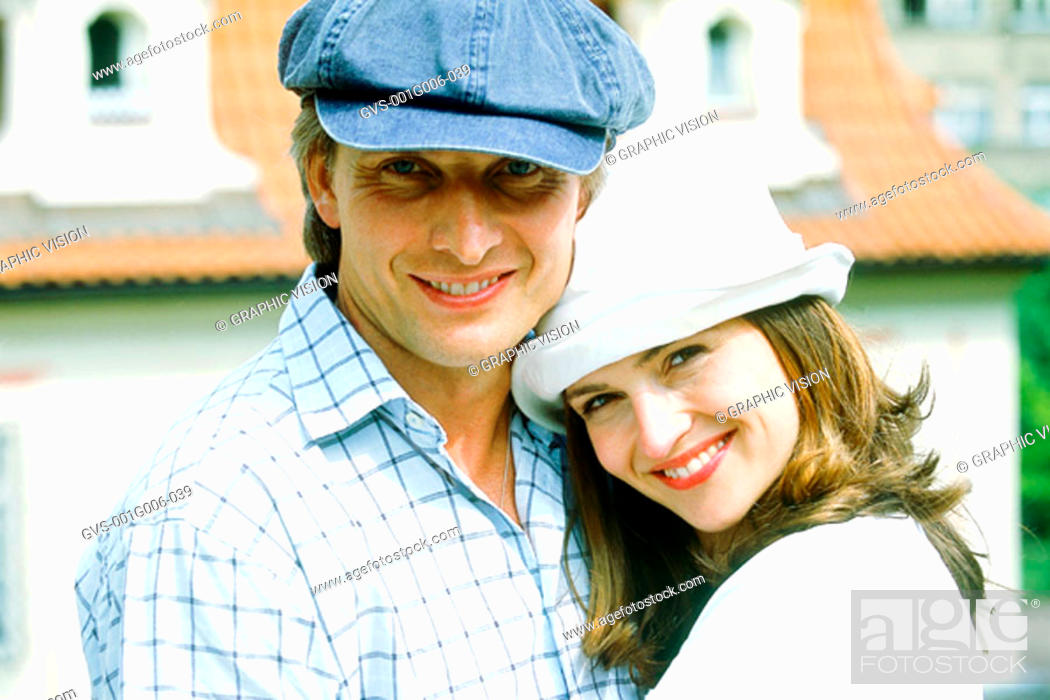 Stock Photo: Portrait of a couple in hats.