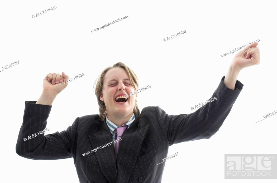 Stock Photo: Young geeky businessman celebrating success.