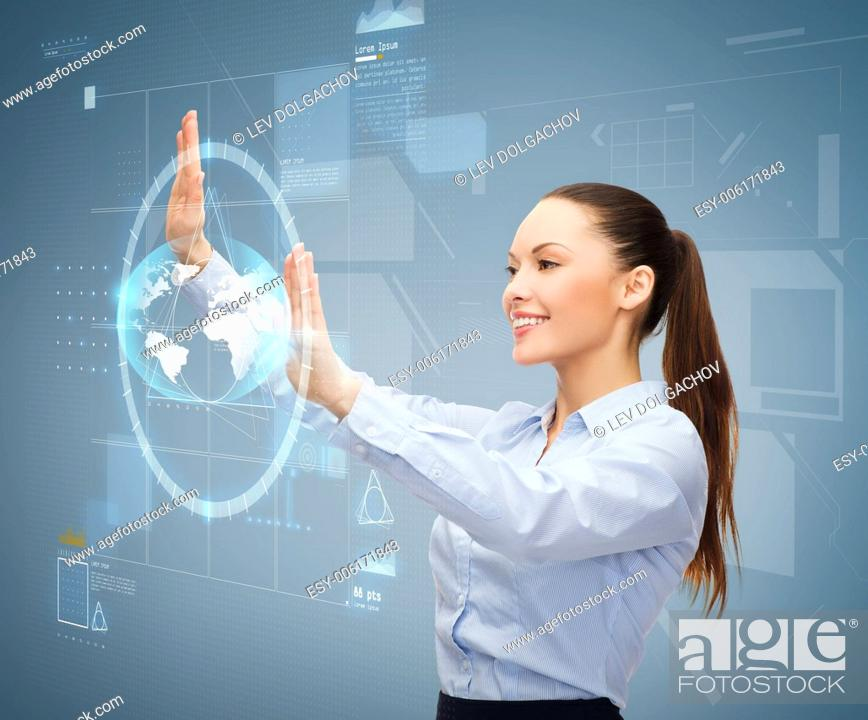 Stock Photo: business and future technology concept - smiling businesswoman working with virtual screen.