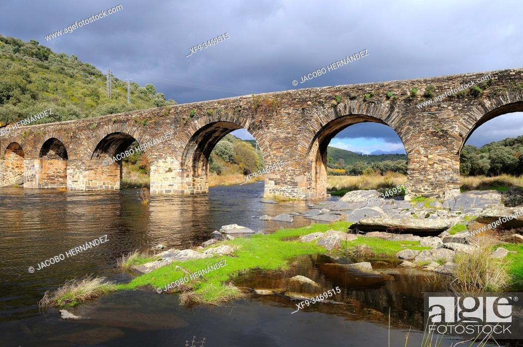 Stock Photo: Roman bridge over the Alagón river. Sotoserrano. Salamanca province. Castilla y León. Spain.