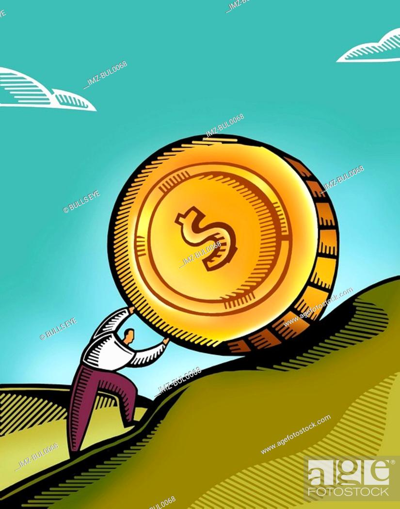 Stock Photo: A man pushing a giant coin uphill.