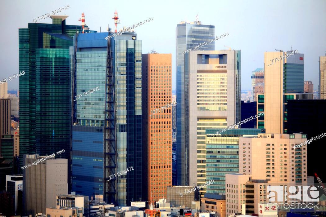 Imagen: Japan, Tokyo, Shiodome area, skyline, aerial view, panorama, .