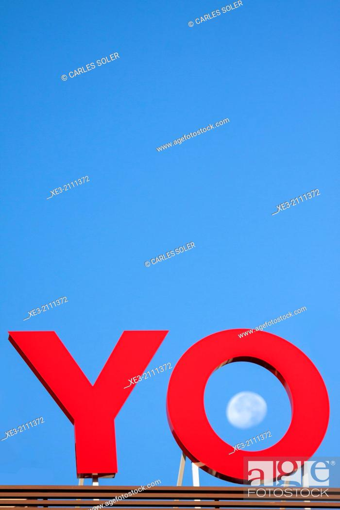 """Stock Photo: Sign showing the word """"yo"""" (Spanish for """"I"""") and the moon inside letter """"o""""."""