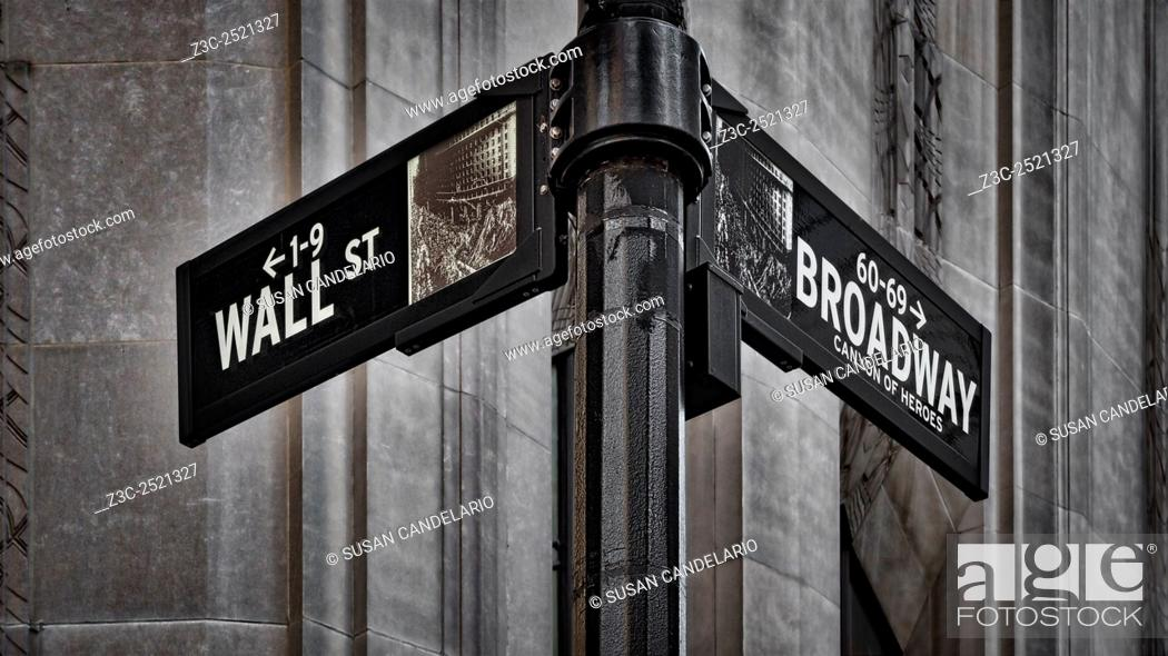 Stock Photo: NYC Wall Street And Broadway Sign - New York City's Broadway Canyon of Heroes and Wall Street Sign.