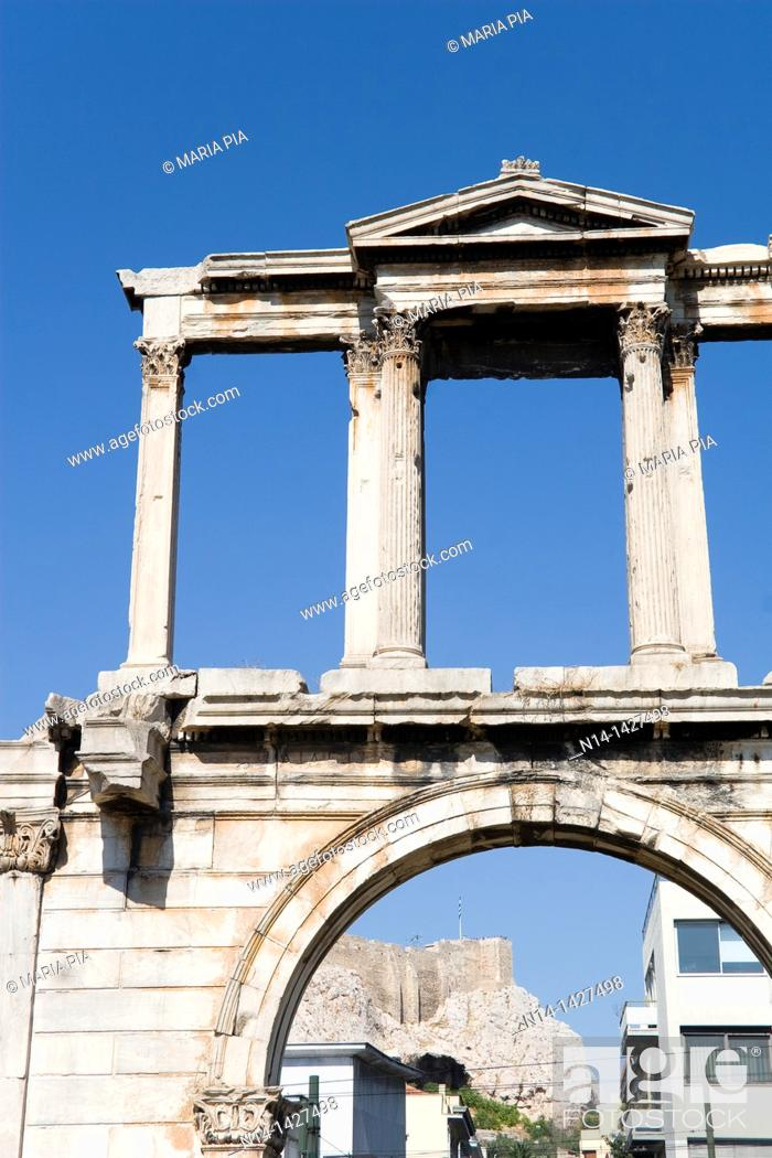 Stock Photo: View from the Acropolis from the Arch of Hadrian in Athens, Greece, Europe.