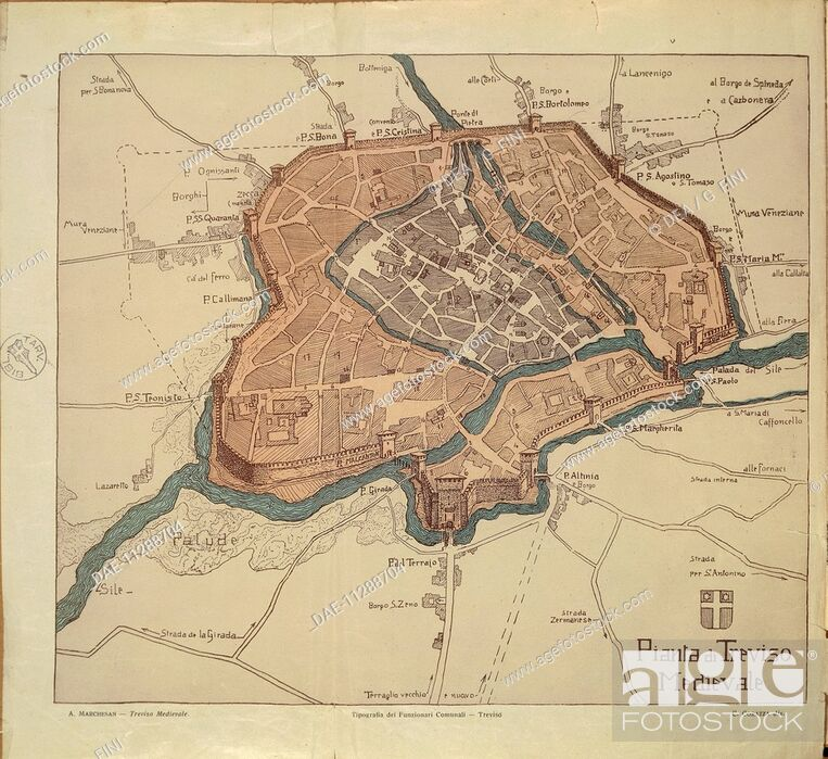 Medieval Map Of Italy.Cartography Italy Map Of Medieval Treviso From Medieval Treviso