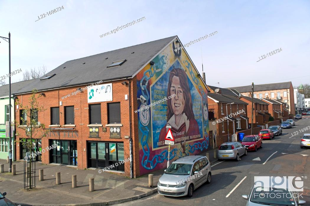 Stock Photo: A mural dedicated to republican hunger striker Bobby Sands  Murals depicting the region's past and present political and religious divisions  Belfast city.