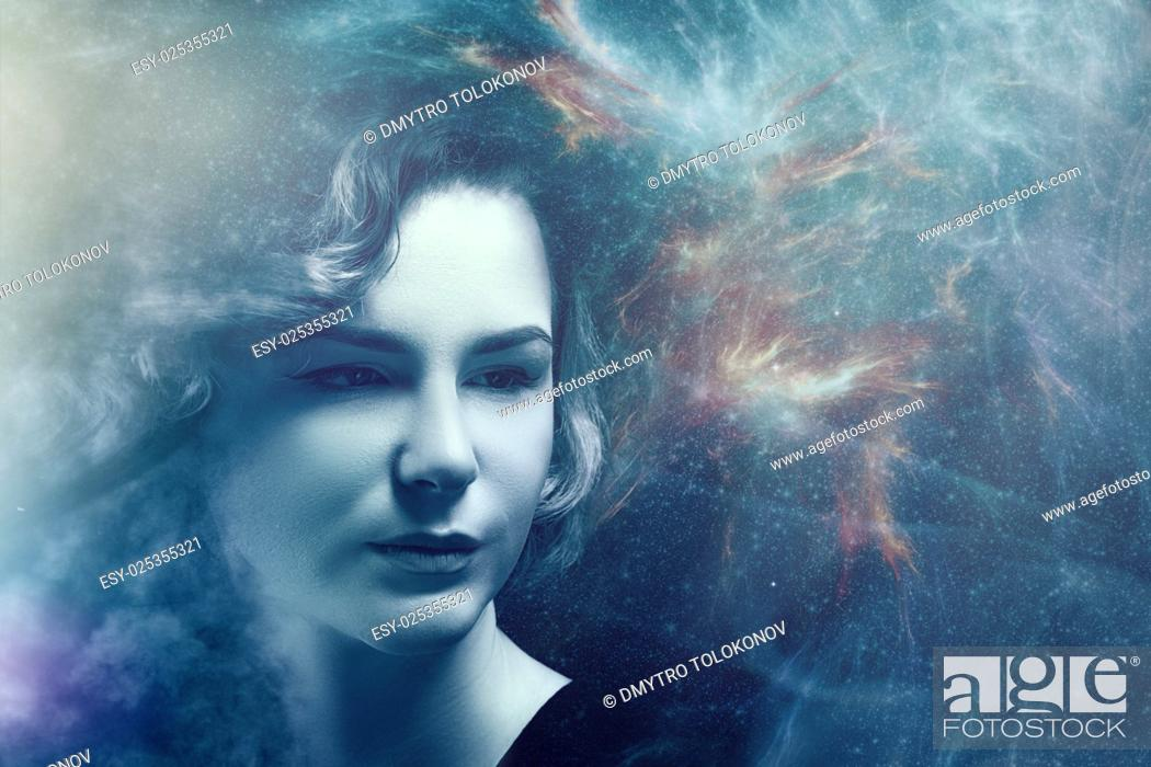 Stock Photo: Fantastic female portrait with space nebula and lights, science and education backgrounds.