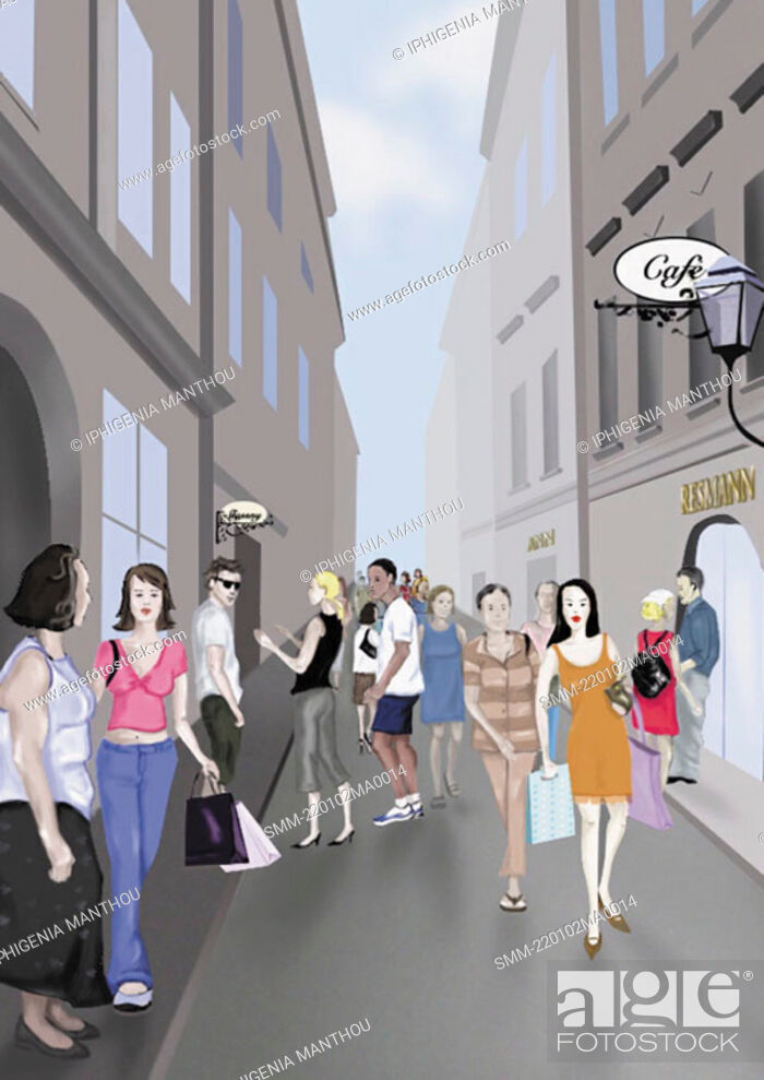 Stock Photo: People on a shopping street.
