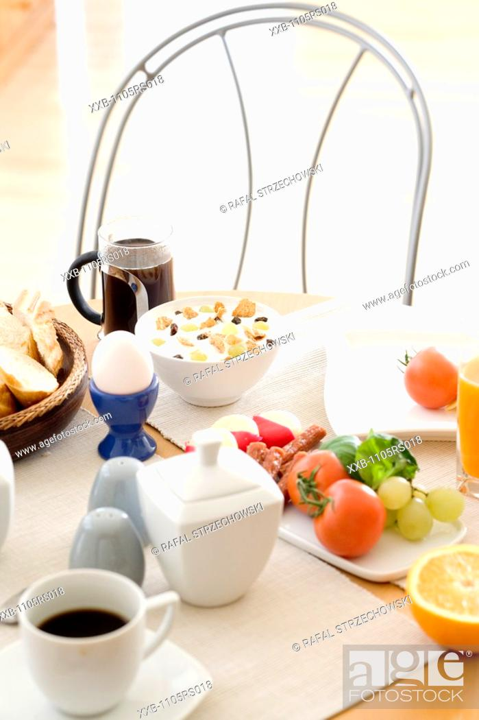 Stock Photo: breakfast table.