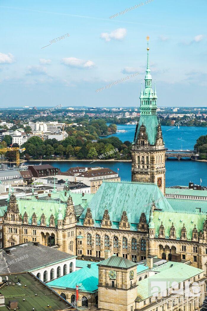 Stock Photo: Panoramic of Hamburg, Germany.