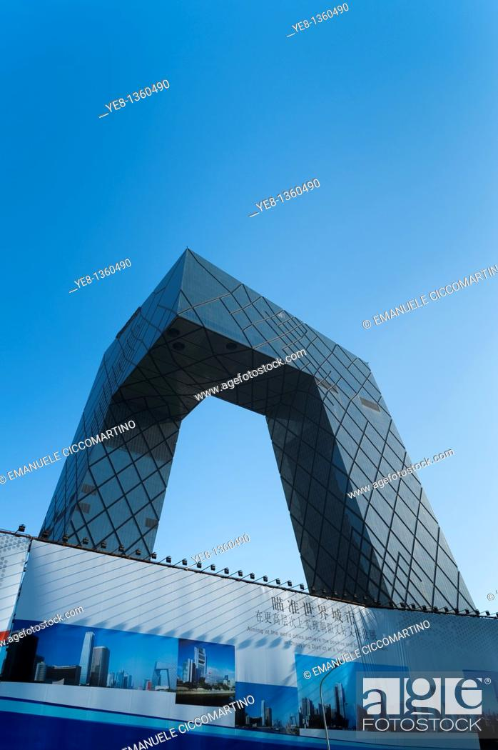 Stock Photo: CCTV TV station HQ by OMA Rem Koolhaas architecture studio, 2009, Central Business District, Beijing, China, Asia.