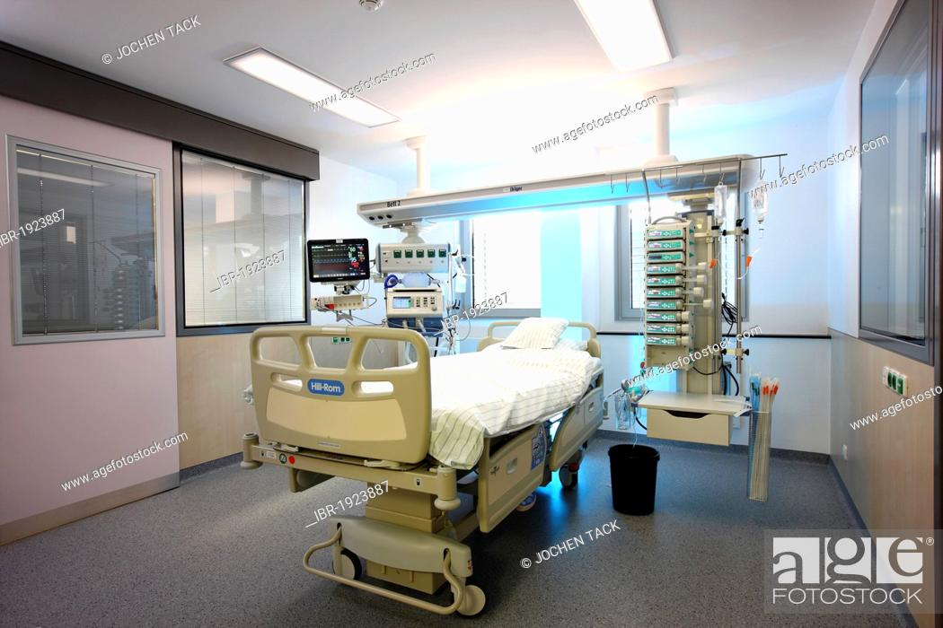 ICU or intensive care unit, empty patient bed ready for a