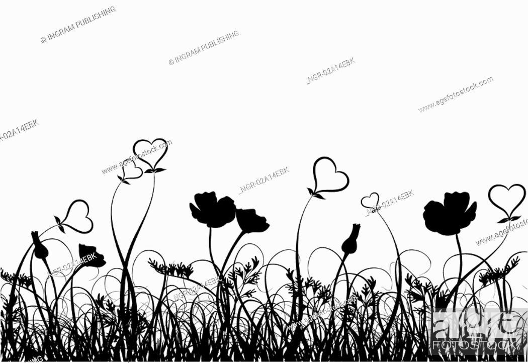 Stock Photo: Grass, poppy and heart, vector.