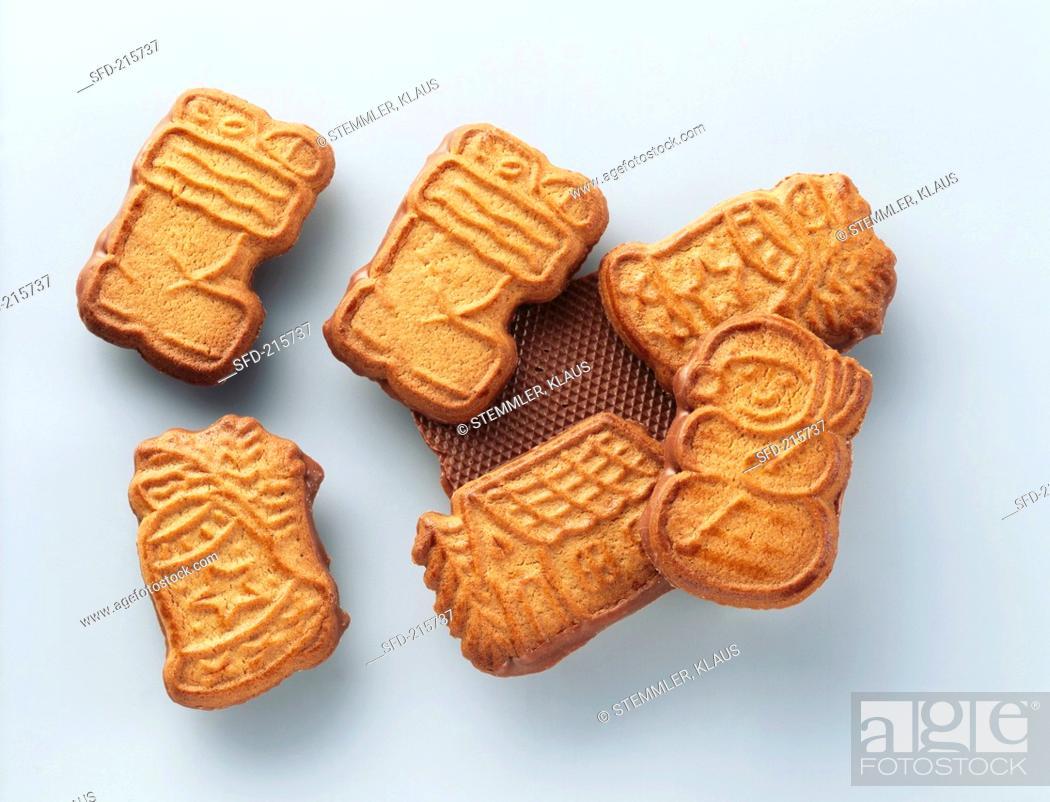 Shaped Chocolate Biscuits Spekulatius On Light Grey Base Stock