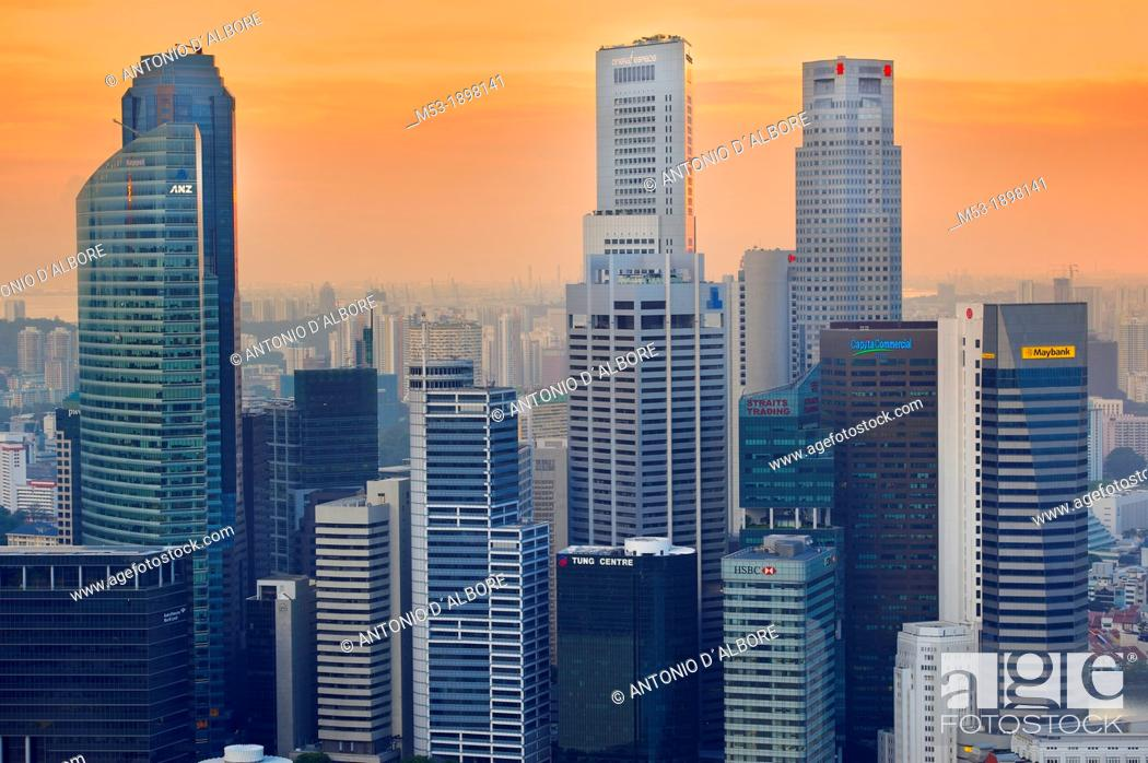 Stock Photo: Aerial view of Central Business District at sunset  Most of this buildings host regional headquarters of banks and financial institutions such as Mmaybank.