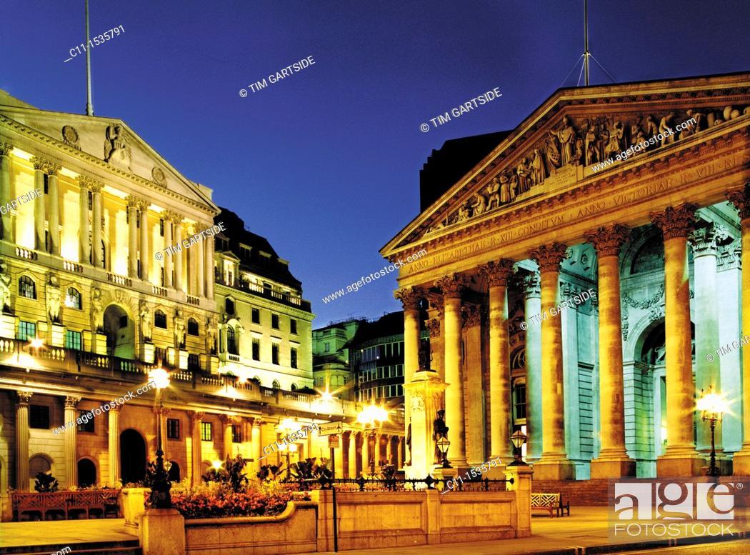Stock Photo: corn exchange, bank of england, london, night, england, uk, europe.