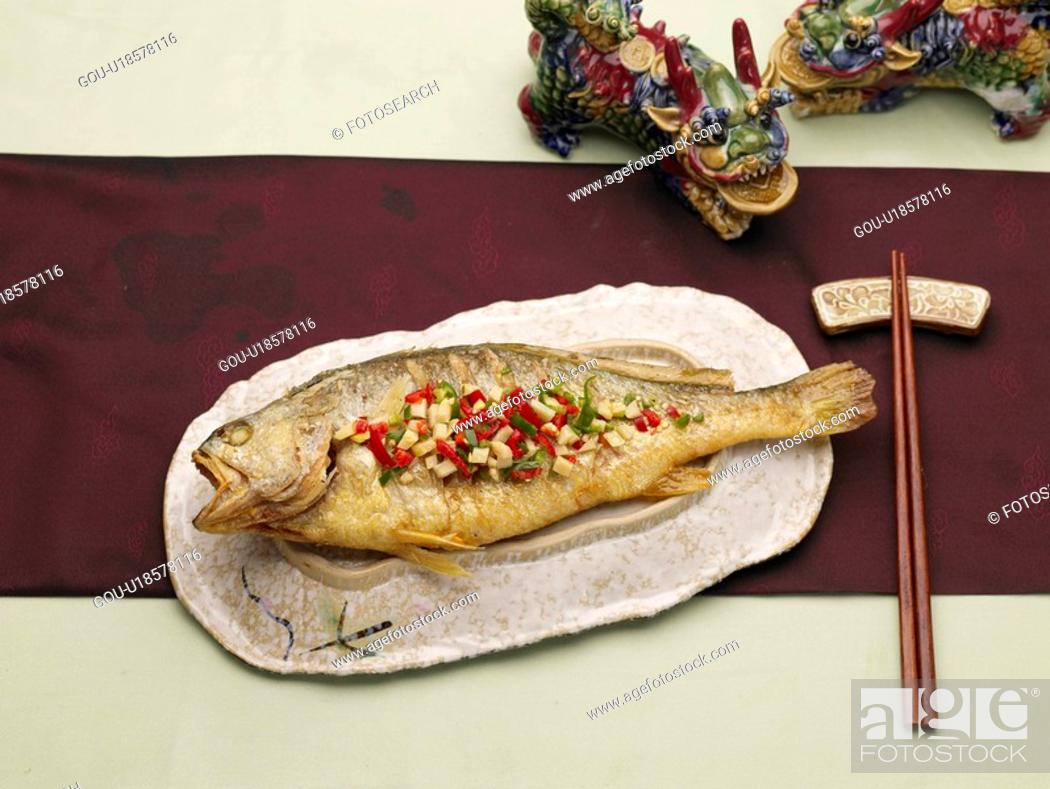 Stock Photo: table napkin, chopsticks, table mat, decoration, food styling, cantonese style fish.