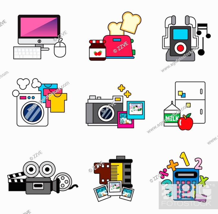 Stock Photo: Electronic devices items.