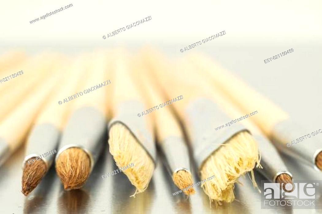 Photo de stock: New Wooden Different Paintbrush Texture.