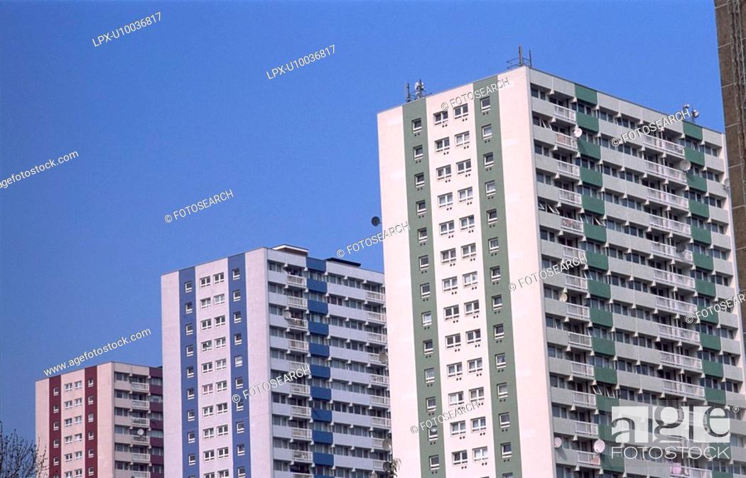 Stock Photo: Refurbished towerblocks, Enfield, North London.
