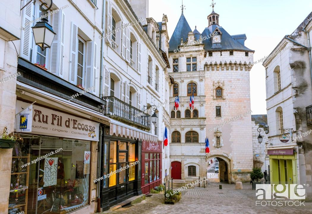 Stock Photo: Gate Picois of the Old Town of Loches, Label City and Country of Art and History, Indre-et-Loire Department, Centre-Val de Loire Region, Loire valley, France.