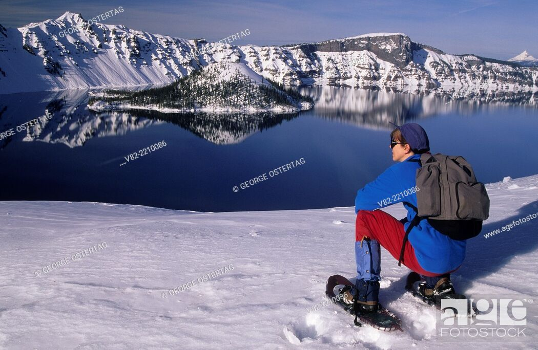 Stock Photo: Wizard Island & Llao Rock & Hillman Peak, Crater Lake National Park, Oregon.