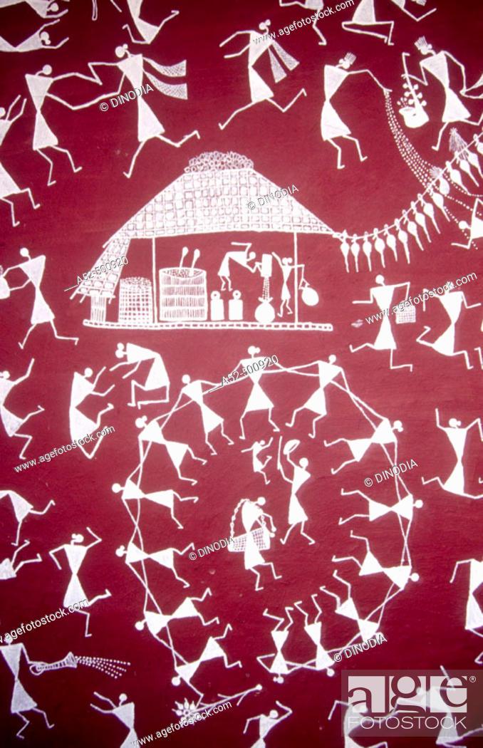 Warli wall painting handicraft maharashtra india stock photo stock photo warli wall painting handicraft maharashtra india altavistaventures Image collections
