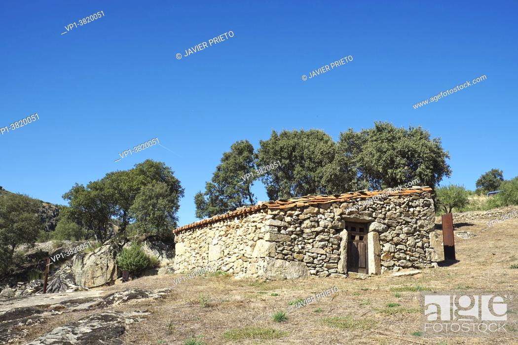 """Stock Photo: Ethnographic Museum """""""" La Majada del Rostro """""""". Shepherd's sheepfold where a goat herder and his family lived between 1950 and 1953."""