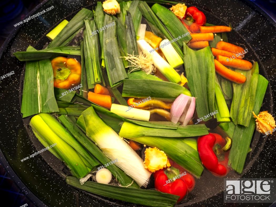 Stock Photo: France, food, cooking vegetable soup.