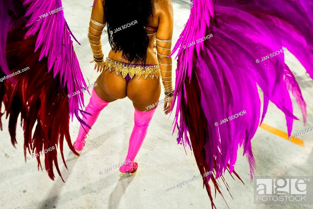 Stock Photo: A samba school dancer performs during the Carnival Access Group parade at the Sambadrome in Rio de Janeiro, Brazil, 19 February 2012  The Carnival in Rio de.