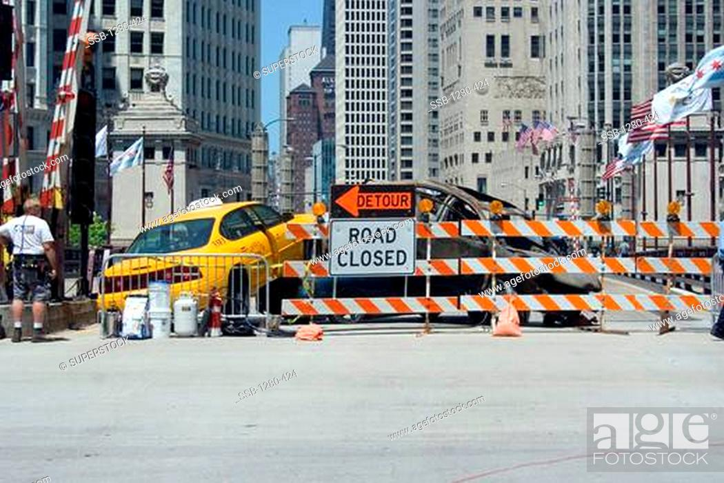 Stock Photo: Bridge is closed due to a taxi colliding with a car burned beyond recognition, Michigan Avenue Bridge, Michigan Avenue, Chicago, Illinois, USA.