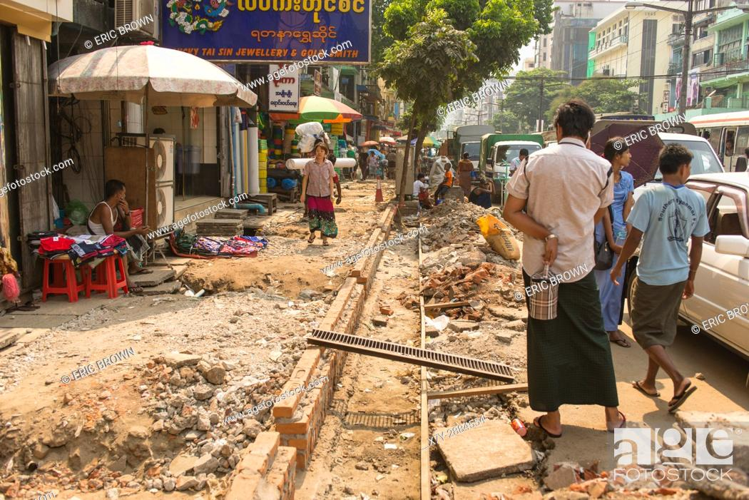 Stock Photo: A sidewalk in the middle of being repaired. . Yangon, Myanmar.