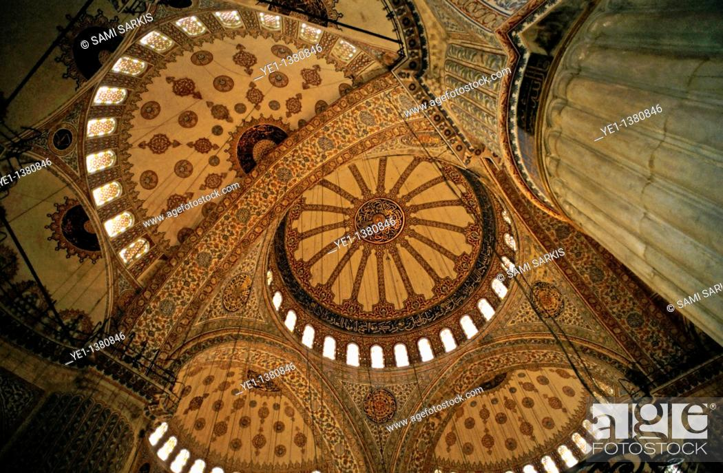 Stock Photo: Decorative ceilings inside the Sultan Ahmed Mosque Blue Mosque, Istanbul, Turkey.