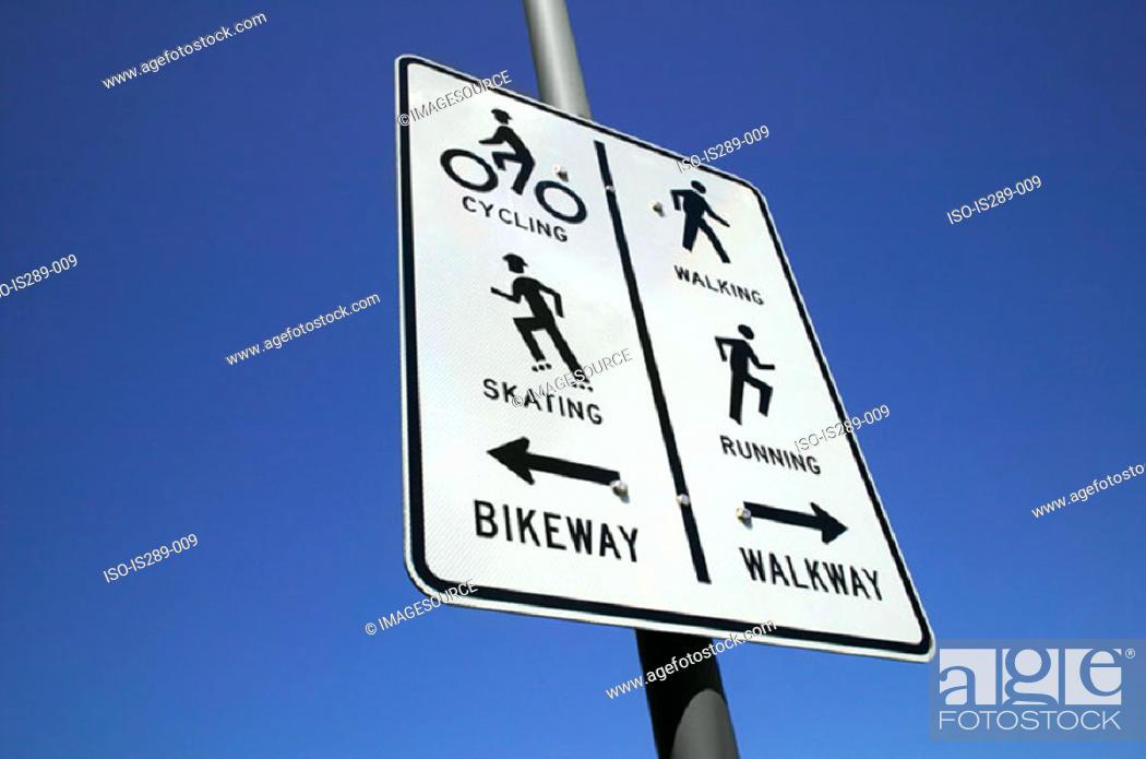 Stock Photo: Bikeway and walkway.