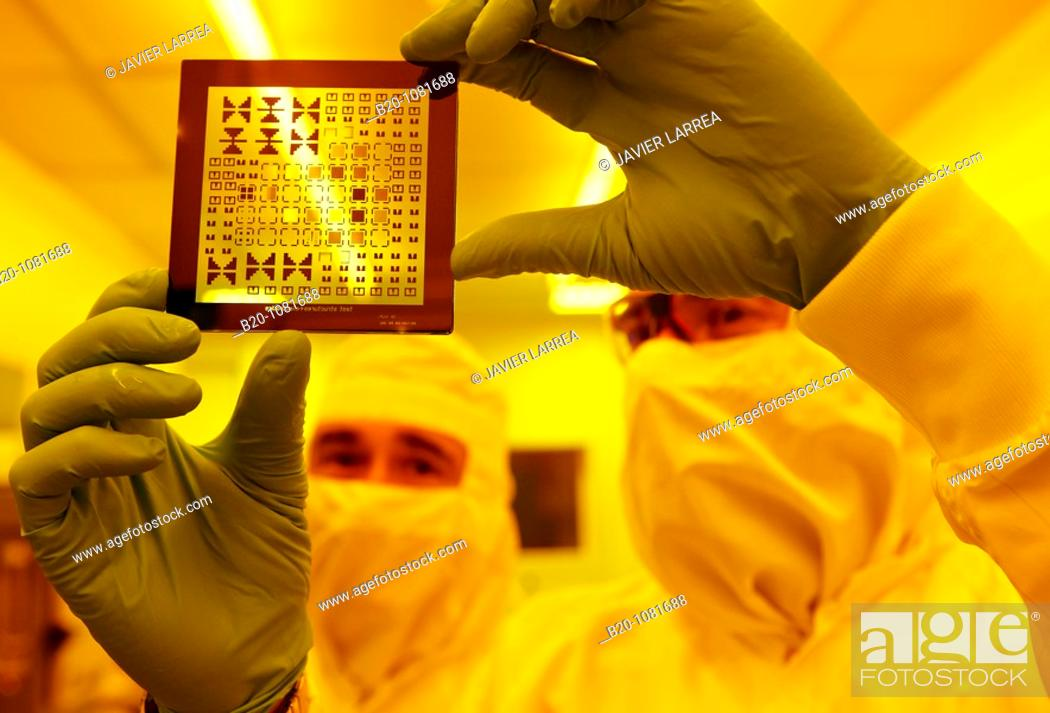 Stock Photo: Photomask, Photolithography Room, clean room, photolithography, CIC nanoGUNE Nanoscience Cooperative Research Center, Donostia, Gipuzkoa, Euskadi, Spain.