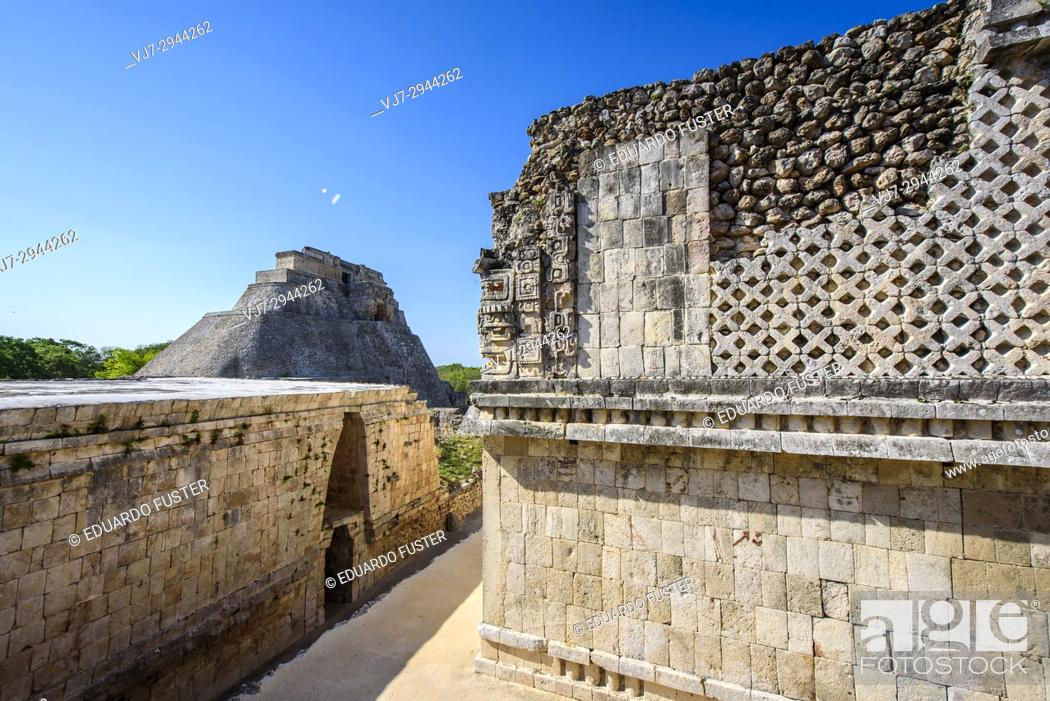 Stock Photo: Pyramid of the Magician in the prehispanic Mayan city of Uxmal Archaeological Site, Yucatan Province, Mexico, North America.