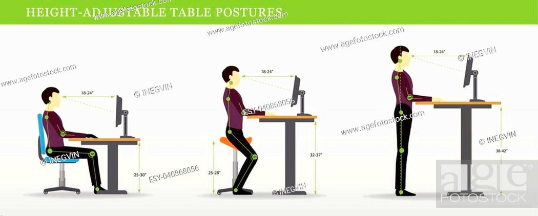 Stock Vector: Height Adjustable and Standing Desks correct poses. Ergonomics healthy postures.