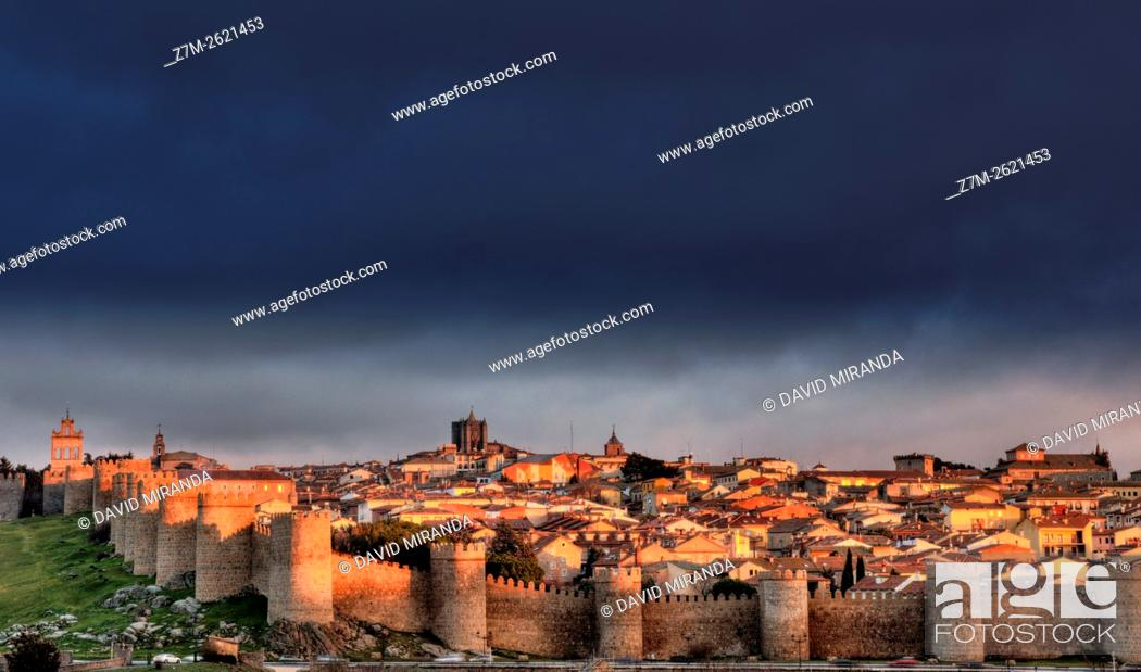 Stock Photo: City Walls and Medieval Cathedral viewed from Los Cuatro Postes, Avila, Castile and Leon, Spain. UNESCO World Heritage Site.