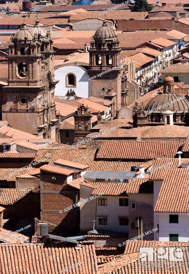 Stock Photo: Peru. Cusco city. Overview of historical center. Church La Compañia and La Merced.
