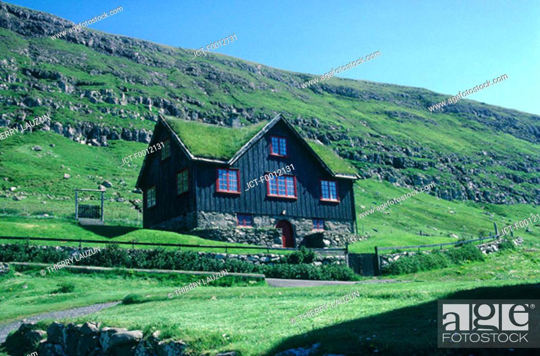 Stock Photo: Denmark, Faroe Islands, Streymoy, country house at Kirkjubons.
