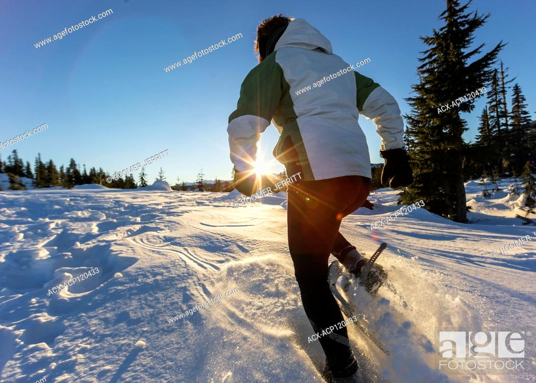 Imagen: The setting sun highlights a snowshoer running in dry powdery snow near Mt. Washington. The Comox Valley, Vancouver Island, British Columbia, Canada.