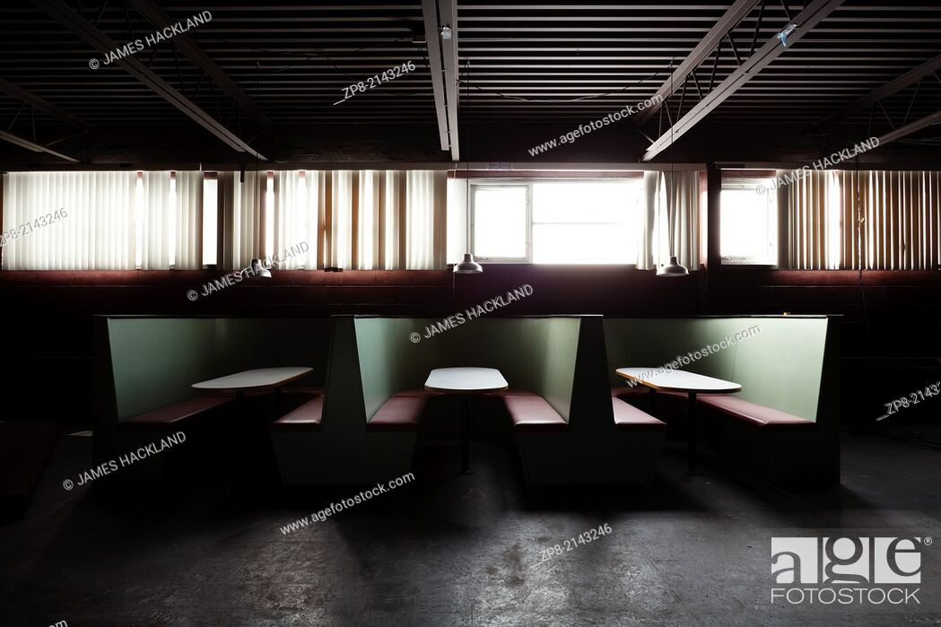 Stock Photo: The cafeteria in an abandoned church in Oakville, Ontario, Canada. This Church has been demolished so there is no property release needed.