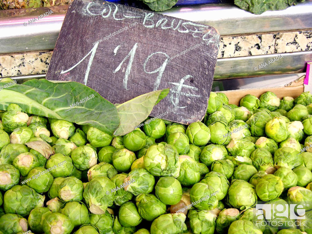 Stock Photo: Brussels sprouts. La Boquería market. Barcelona. Spain.