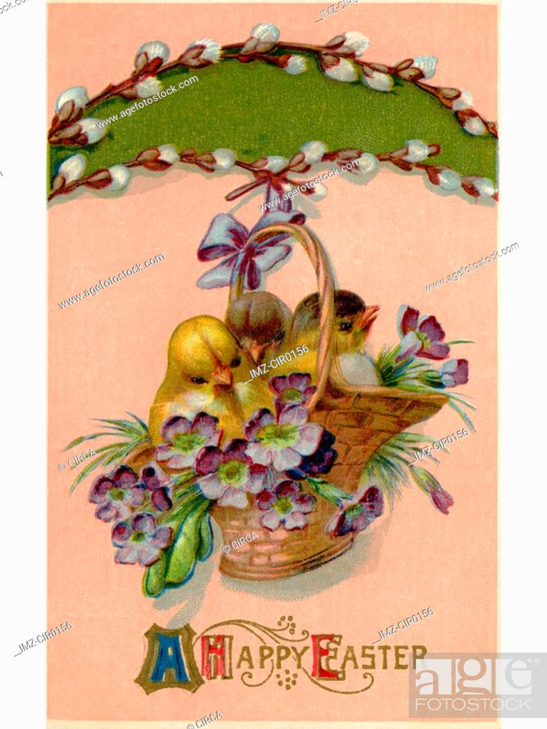Stock Photo: A vintage Easter postcard of a basket full of chicks and violets hanging from a pussy willow branch.