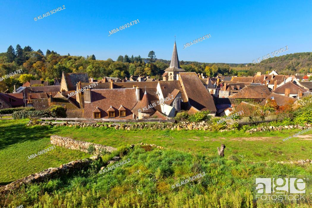Stock Photo: Hérisson, French municipal, roofs.