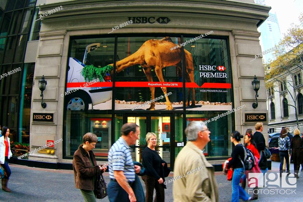 USA, New York City, HSBC Bank, Manhattan, Stock Photo