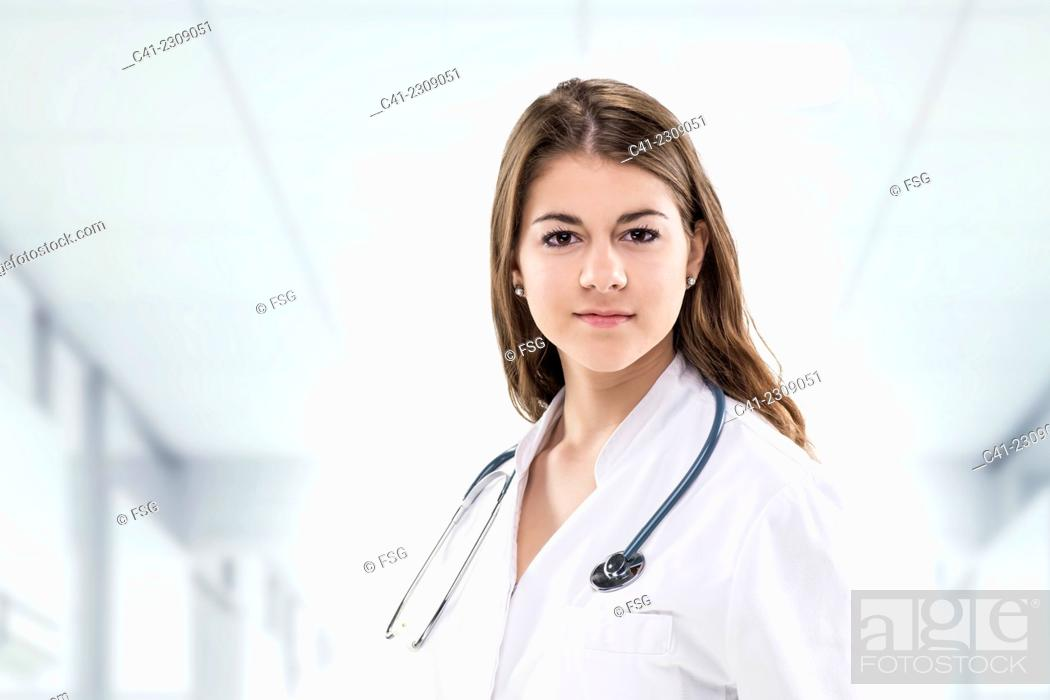 Stock Photo: Woman working in a hospital.