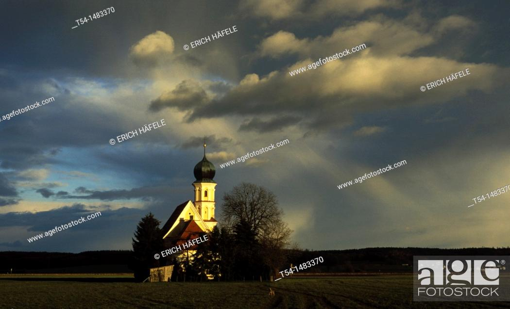 Stock Photo: Catholic chapel at weather mood.