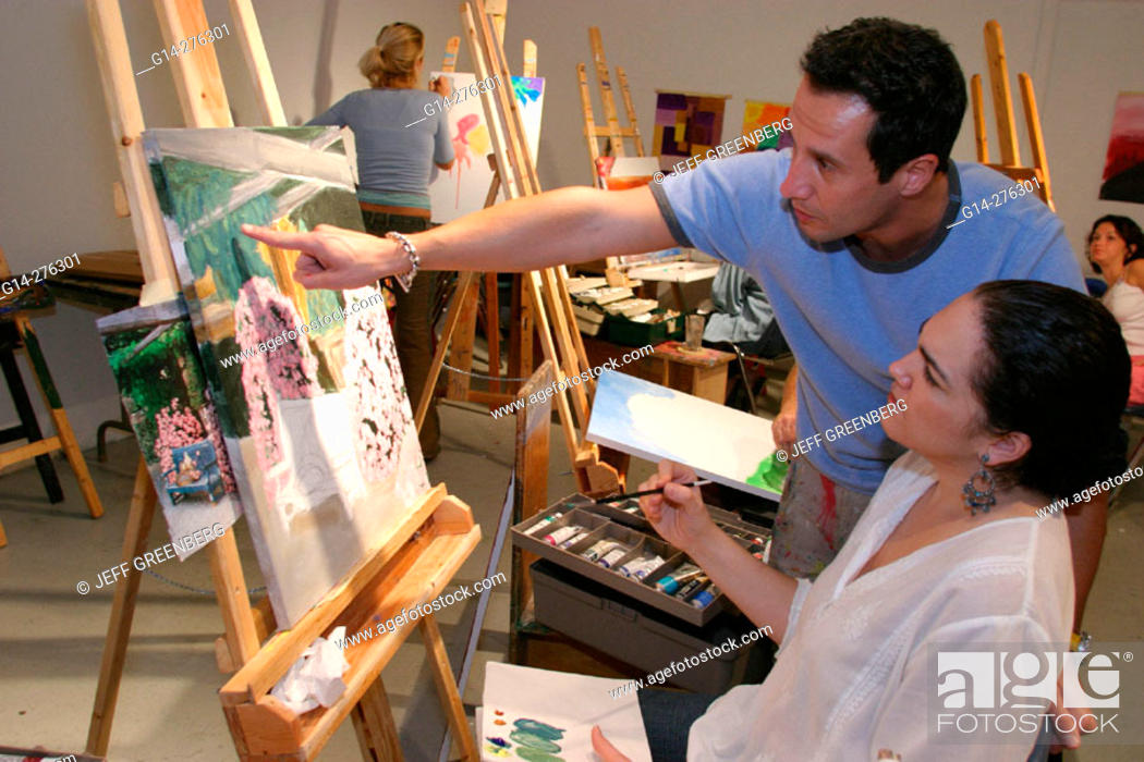 Stock Photo: Painting class. Art Center South Florida. Lincolm Road Mall. Miami Beach. Florida. USA.